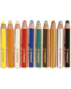 Pastelli Woody 3-in-1, L: 11 cm, spess. 16 mm, mina 10 mm, colori asst., 10 pz/ 1 conf.