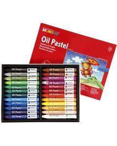 Pastelli a olio Mungyo, L: 7 cm, spess. 10 mm, colori asst., 24 pz/ 1 conf.