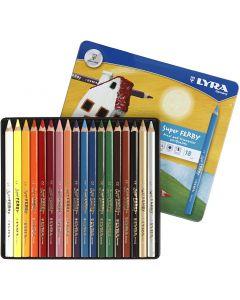 Super Ferby 1 matite colorate, L: 18 cm, mina 3 mm, colori asst., 18 pz/ 1 conf.