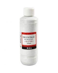 Vernice per decoupage, glitter, argento, 250 ml/ 1 bott.