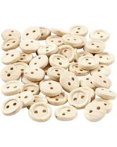 Bottoni in legno, diam: 8 mm, 2 buchi, 50 pz/ 1 conf.