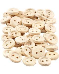 Bottoni in legno, diam: 11 mm, 2 buchi, 50 pz/ 1 conf.