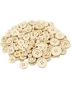 Bottoni in legno, diam: 8+11+15+18+23 mm, 440 pz/ 1 conf.