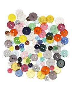 Mix bottoni, colori asst., 100 pz/ 1 conf., 50 g