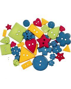 Bottoni decorativi, diam: 8-18 mm, misura buco 2 mm, colori forti, 37 pz/ 1 conf.
