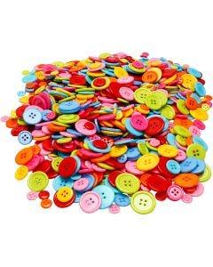 Mix Bottoni, diam: 10+15+20+22 mm, 500 g/ 1 conf.