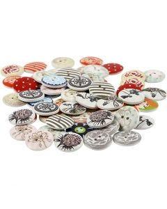 Bottoni decorati, diam: 20 mm, il contenuto può variare , 180 pz/ 1 conf.