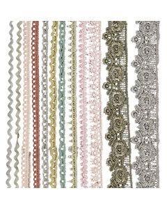 Bordi di merletto - assortimento, L: 10-25 mm, colori asst., 12x3 m/ 1 conf.