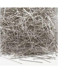 Spilli da sarto, L: 30 mm, spess. 0,55 mm, argento, 500 g/ 1 conf.