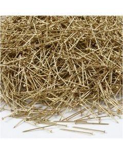Spilli da sarto, L: 18 mm, spess. 0,6 mm, oro, 500 g/ 1 conf.