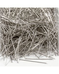 Spilli da sarto, L: 37 mm, spess. 0,7 mm, argento, 500 g/ 1 conf.