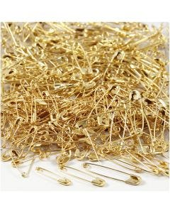 Spille da balia, L: 19+22+28 mm, spess. 0,5-0,6 mm, oro, 600 pz/ 1 conf.
