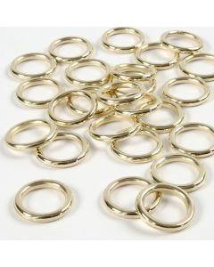Anelli di plastica, misura 15 mm, spess. 2 mm, oro, 25 pz/ 1 conf.