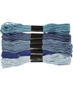 Assortimento filo da ricamo, spess. 1 mm, armonia blu, 6 pacch./ 1 conf.