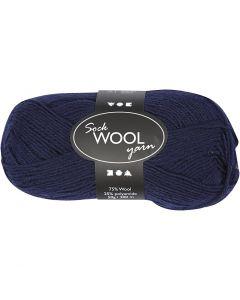 Lana per calze, L: 200 m, blu scuro, 50 g/ 1 gom.