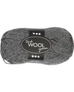Lana per calze, L: 200 m, grigio scuro, 50 g/ 1 gom.