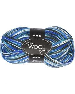 Lana per calze, L: 200 m, armonia blu/turchese, 50 g/ 1 gom.