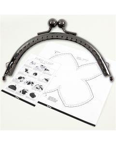 Kit chiusura per borsetta, misura 10 cm, argento antico, 1 pz