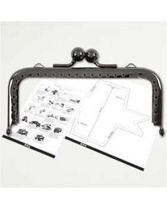 Kit chiusura per borsetta, misura 10 cm, grigio scuro metallico, 1 pz