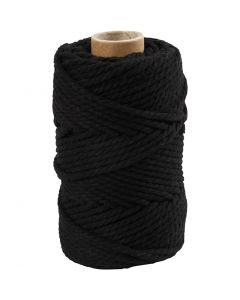 Corda per Macramé, L: 55 m, diam: 4 mm, nero, 330 g/ 1 rot.