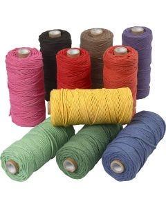 Filo di cotone, L: 100 m, spess. 2 mm, Qualità spessa 12/36, colori forti, 10x225 g/ 1 conf.
