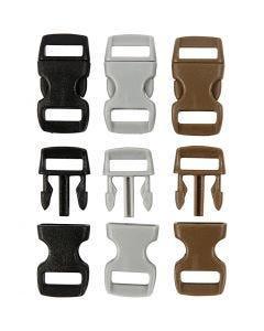 Click Clasp, L: 29 mm, L: 15 mm, misura buco 3x11 mm, nero, marrone, grigio, 100 pz/ 1 conf.