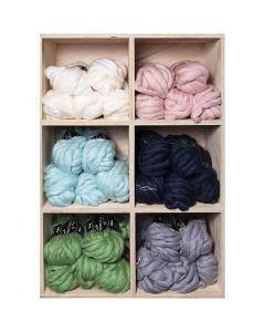 Filato spesso Chunky in lana/acrilico, L: 15 m, misura mega , colori asst., 6x5 gom./ 1 conf.