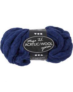 Filato spesso Chunky in lana/acrilico, L: 15 m, misura mega , blu scuro, 300 g/ 1 gom.