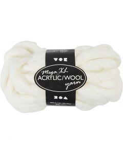 Filato spesso Chunky in lana/acrilico, L: 15 m, misura mega , avorio, 300 g/ 1 gom.