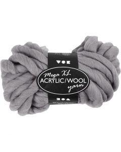 Filato spesso Chunky in lana/acrilico, L: 15 m, misura mega , grigio, 300 g/ 1 gom.