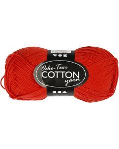 Filato in cotone, dim. 8/4, L: 170 m, rosso, 50 g/ 1 gom.
