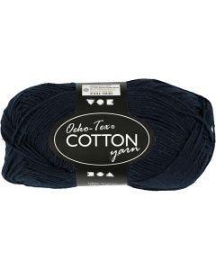 Filato in cotone, dim. 8/4, L: 170 m, blu scuro, 50 g/ 1 gom.