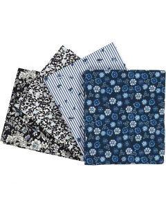 Stoffa patchwork, misura 45x55 cm, 100 g, blu, 4 pz/ 1 conf.
