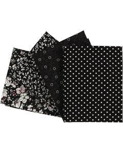 Stoffa patchwork, misura 45x55 cm, 100 g, nero, 4 pz/ 1 conf.