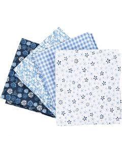 Tessuto per Patchwork, misura 45x55 cm, 100 g, blu, 4 pz/ 1 pacch.