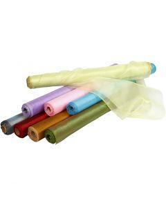 Tessuto organza, L: 50 cm, brillante, colori asst., 10 m/ 1 rot.