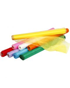 Tessuto organza, L: 50 cm, colori asst., 8x10 m/ 1 conf.