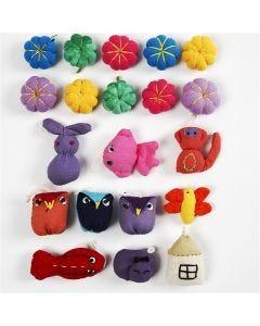 Mini animali di stoffa, misura 20-35 mm, 40 pz/ 1 conf.