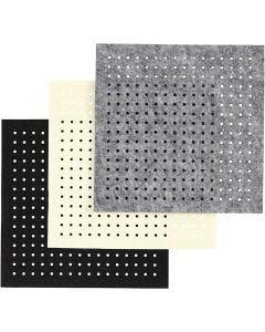 Feltro con buchi, spess. 3 mm, nero, grigio, avorio, 3x4 fgl./ 1 conf.