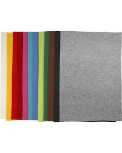 Feltro, 42x60 cm, spess. 3 mm, colori asst., 12 fgl. asst./ 1 conf.