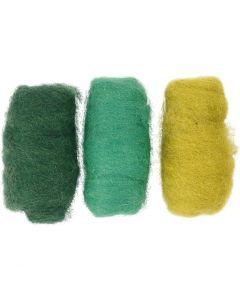 Lana cardata, verde/bianco sporco, 3x10 g/ 1 conf.
