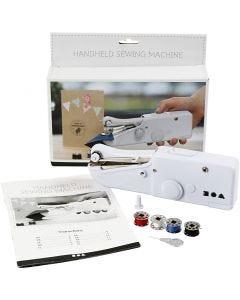 Macchina da cucire portatile, H: 6,7 cm, L: 20,5 cm, L: 3,5 cm, bianco, 1 pz