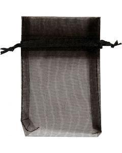 Sacchettini in organza, misura 7x10 cm, nero, 10 pz/ 1 conf.