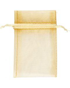 Sacchettini in organza, misura 7x10 cm, oro, 10 pz/ 1 conf.
