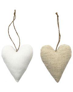 Sagome di stoffa, misura 8x9,5 cm, bianco, natural chiaro, 6 pz/ 1 conf.