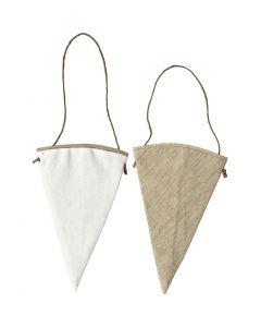 Sagome di stoffa, H: 18,5 cm, L: 12 cm, bianco, natural chiaro, 6 pz/ 1 conf.
