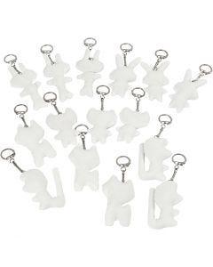 Figure di stoffa con anello portachiavi, misura 6-10 cm, bianco, 15 pz/ 1 conf.