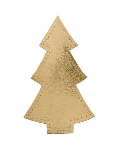Albero di Natale, H: 18 cm, L: 11 cm, 350 g, oro, 4 pz/ 1 conf.