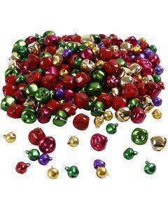 Campanellini - assortimento , diam: 10+14 mm, colori metallici, 320 asst./ 1 conf.