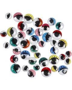Occhi mobili, non adesivo, diam: 8-12 mm, 36 asst./ 1 conf.